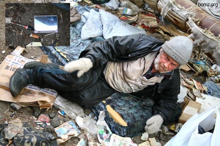 Бомж Серега с отмороженными ногами
