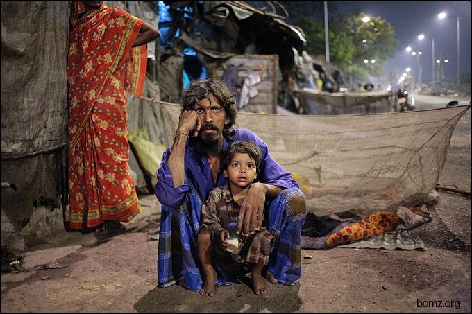 homeless Father and Son - Kolkata