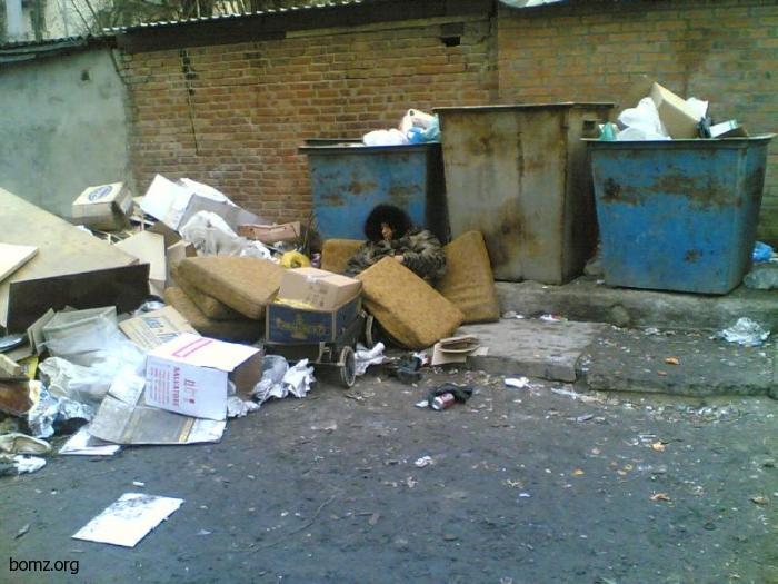 Бомжиха и мусорник